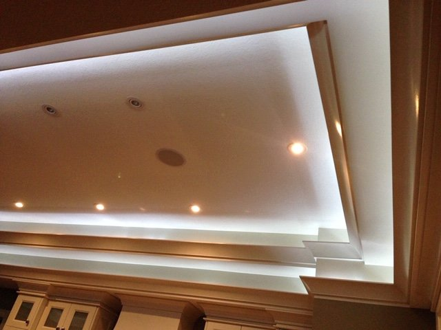Custom double layered ceiling with lighting